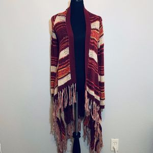 Lucky Brand rust fringe long duster cardigan XS